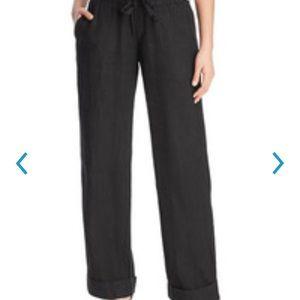 NWT Black Three Dots Linen Pants